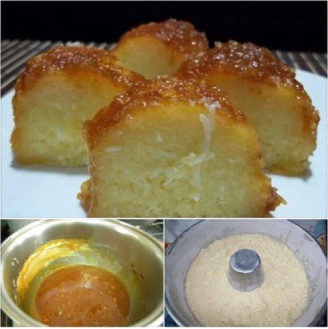 Ingredientes 1 Kg de mandioca descascada 1 Xícara (chá) de manteiga 1 Vidro pequeno (200ml) de leite de coco 5 ovos 1 Lata de leite condensado 1 Lata de leite (mesma medida da lata de leite condensado) 1 Xícara (chá) de açúcar 100g de coco ralado (se for fresco é melhor) Uma pitada de sal…