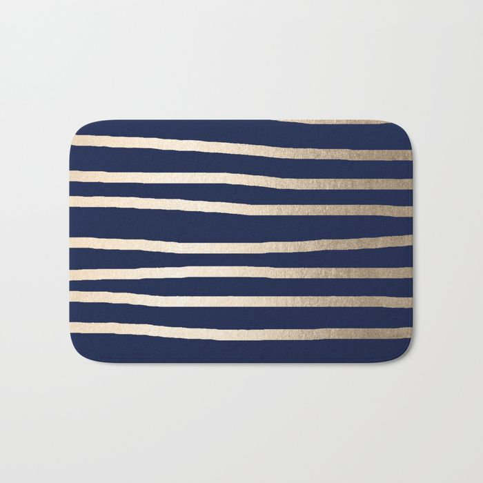 Buy Drawn Stripes White Gold Sands On Nautical Navy Blue Bath Mat