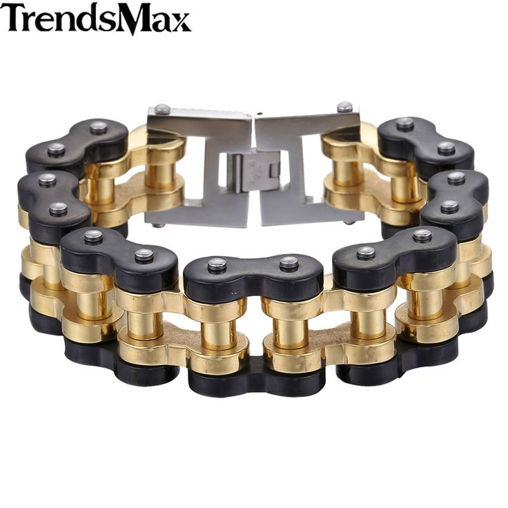 Trendsmax 12.5/20/24mm Wide Boys Mens Wristband Biker Motorcycle Link 316L Stainless Steel Bracelet HBM68