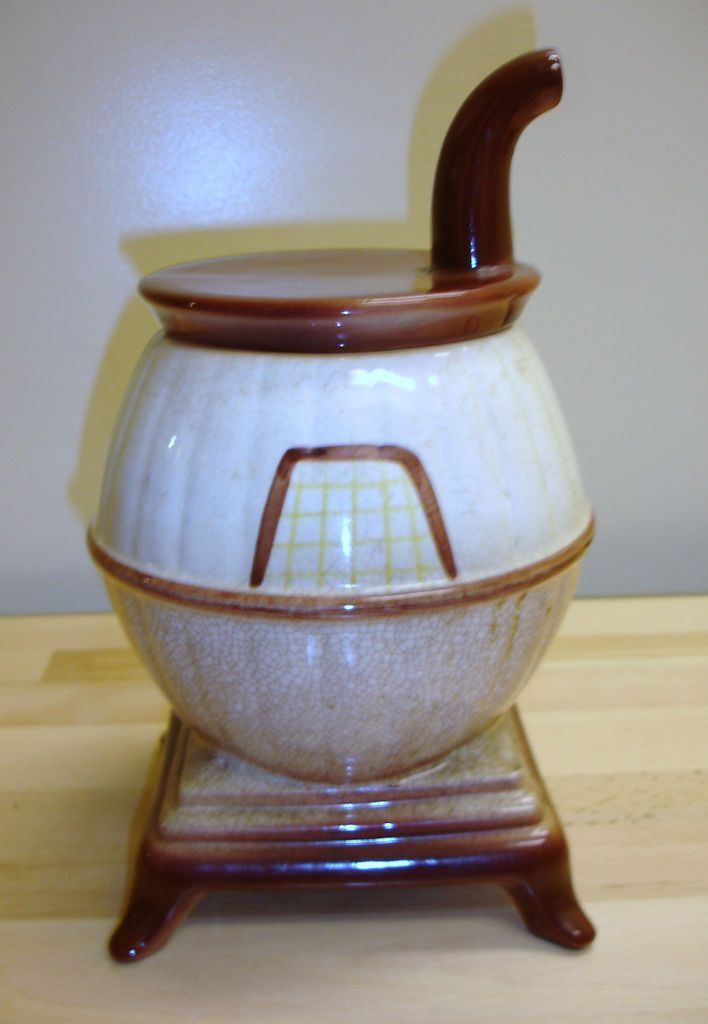 Very Early large Pot Belly Stove cookie jar rare and unusual