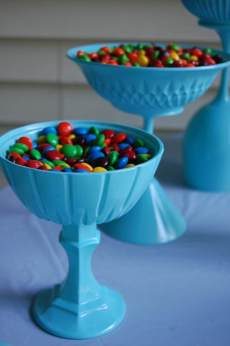 DIY candy holder made from Dollar Tree for Tiffany & Co. inspired birthday party