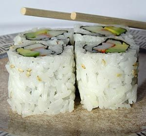 California Rolls  Alton Brown/Video and Recipe  http://www.foodnetwork.com/recipes/alton-brown/california-roll-recipe/index.html