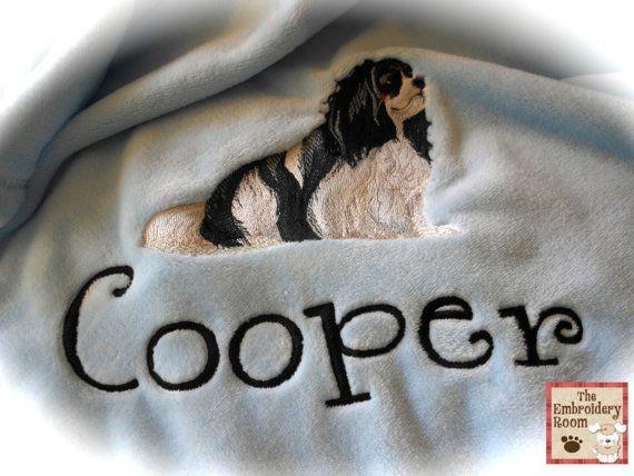 King Charles Cavalier-Embroidered Dog Blanket