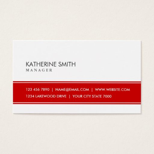 301 best white and red business cards images on pinterest black professional elegant plain simple red and white business card reheart Gallery