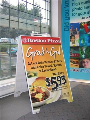 Sandwich Board produced and installed by FASTSIGNS Vancouver for Boston Pizza www.fastsigns.com/653