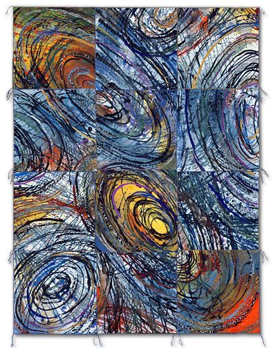 """Sue Benner, NEST IV, 2003 - 62"""" x 46.5"""", dye and paint on silk, fused, mono-printed, machine quilted"""