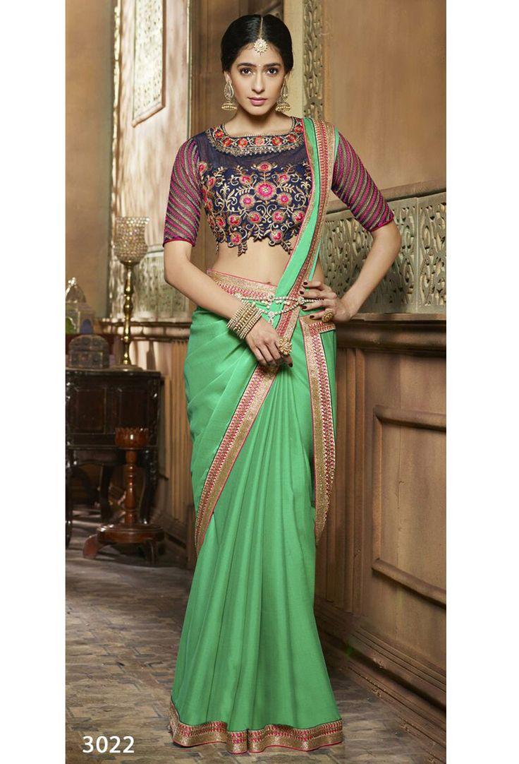 Designer Green Satin And Silk Sari With Blouse #green #Trendy #onlinesari #sari #saree #WomenClothing #WomenWear #Designersari #stylishsari #nikvik #usa #designer #australia #canada #malaysia #UAE #freeshipping  Sign up and get USD100 worth vouchers.Price-US$78.59