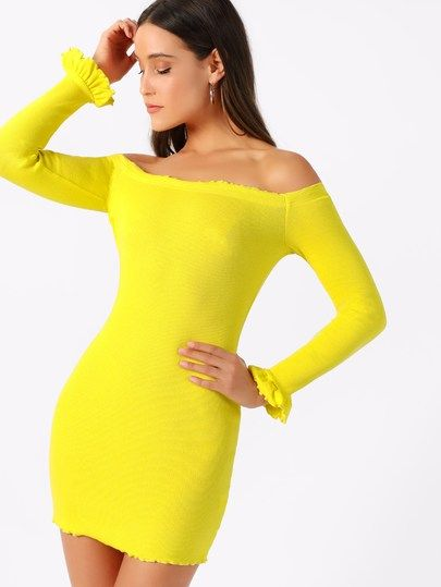 7200be5781 Neon Yellow Lettuce Trim Off Shoulder Pencil Dress [swdress07181226455] -  $28.00 : moonbaye.com