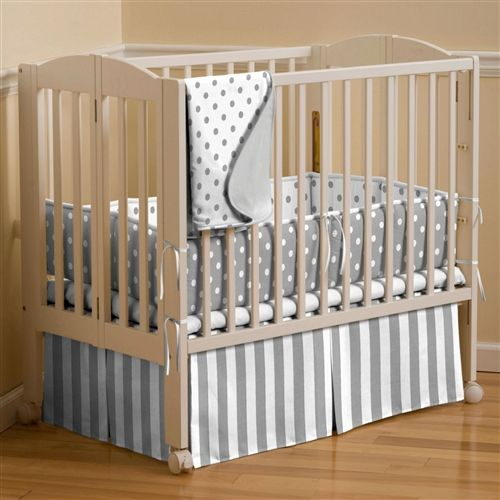 Gray and White Dots and Stripes Portable Crib Bedding | Carousel Designs