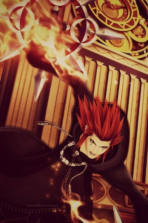 """Axel, from Kingdom Hearts (VideoGame). Favourite Quotes:  """"My name's Axel, Got It memorized?"""" """"What's your problem? You both...think you can do whatever you want. Well I'm sick of it. Go on, you just keep running. But I'll always be there to bring you back!"""""""