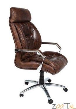 Kare Design Cigar Lounge Bureaustoel - De Kare Design Cigar Lounge Bureaustoel is een luxe bureaustoel gemaakt van echt rundleer. De bureaustoel zit zeer comfortabel en is door zijn wieltjes gemakkelijk verplaatsbaar. De verstelbare stoel is voorzien van armleuningen en is optimaal geschikt voor op kantoor.