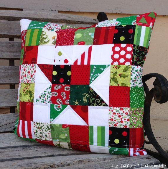 Handmade Christmas holiday patchwork pillow by LizTaylorHandmade