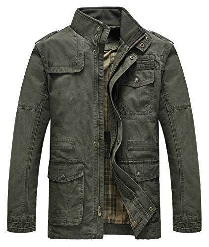 Mens Cotton Stand Collar Jacket Lightweight Front Zip Coat Windbreaker Jacket