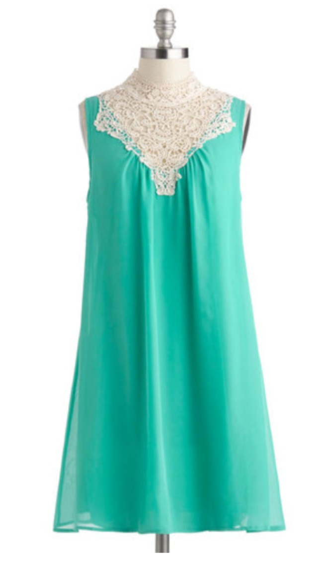 Bright turquoise gown with lace neckline ❤modcloth