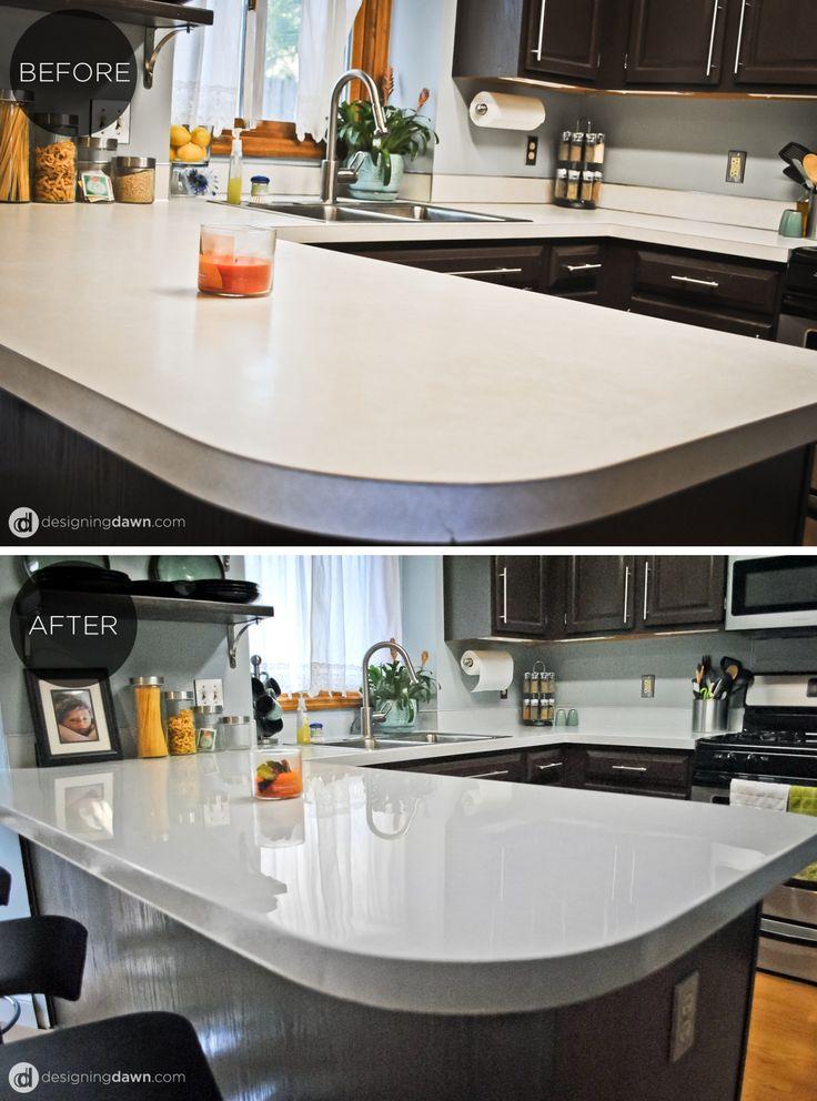 diy glossy painted counters maison plans de travail cuisine et comptoirs. Black Bedroom Furniture Sets. Home Design Ideas