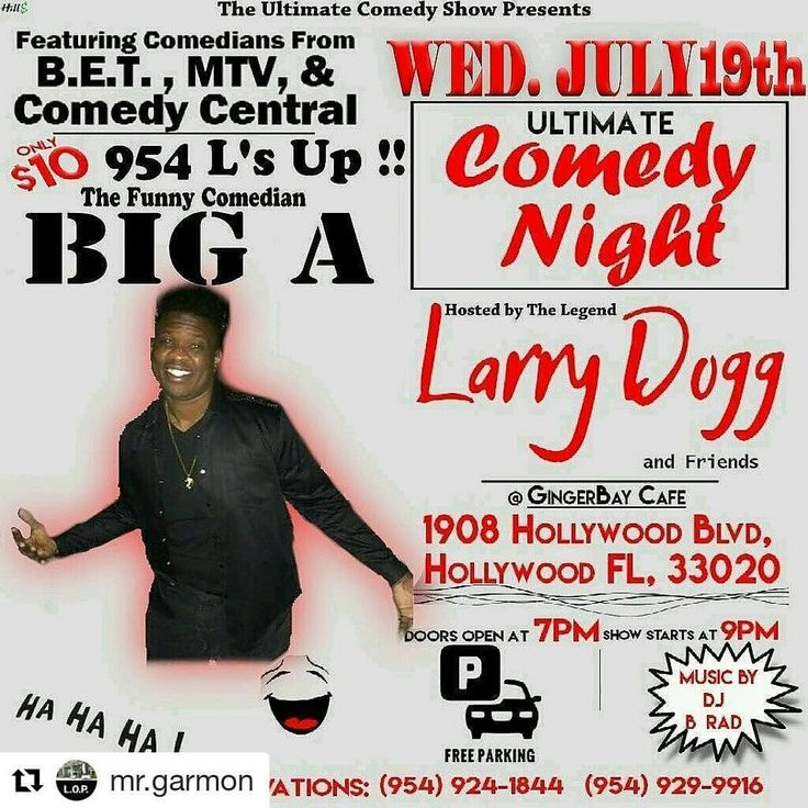 Credit to @mr.garmon  ・・・ South Florida residents if you're looking for a nice Wednesday evening of fun, laughs and good food. Pull up to ultimate comedy night at Ginger Bay Cafe. Shout out to the Legend @miamilarrydogg for the best midweek comedy show in South Florida. #live #laughs #funtimes  ☀ ☀ ☀ #HollywoodTapFL #HollywoodFL #HollywoodBeach #DowntownHollywood #Miami #FortLauderdale #FtLauderdale #Dania #Davie #DaniaBeach #Aventura #Hallandale #HallandaleBeach #PembrokePines #Miramar…