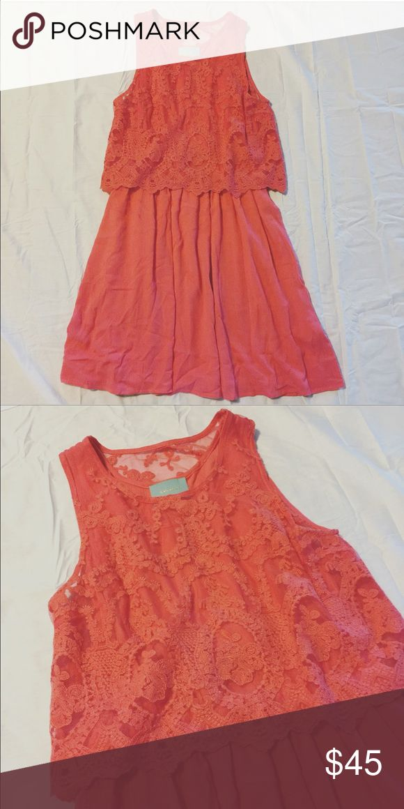 [SKIES ARE BLUE] Coral Lace Dress Good condition. skies are blue Dresses