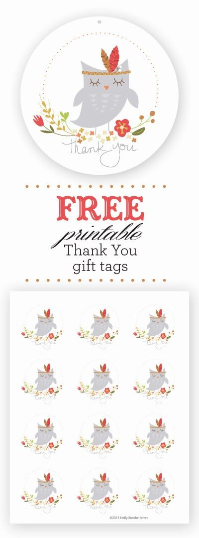 FREE printable  Owl Thank You Gift tags // Holly Brooke Jones: