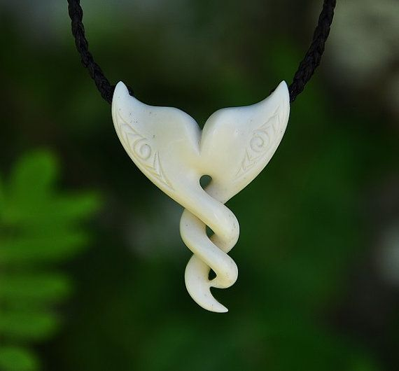 Bone Whale tail with Celtic twist Hand carved & by JackieTump, $165.00