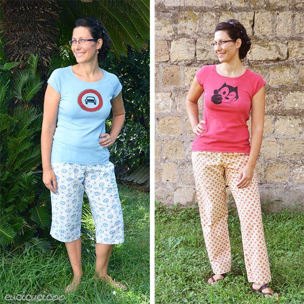 Cartamodello PDF: Pantaloni di pigiama da donna Oenothera Biennis di Cucicucicoo Patterns - lunghezze pinocchietto e pantaloni - www.cucicucicoo.com