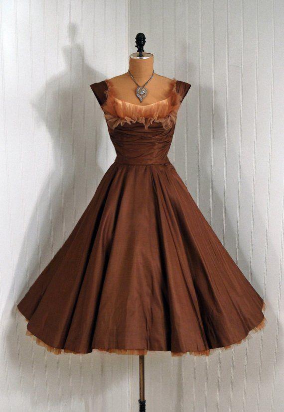 1950's Vintage Ceil Chapman Designer-Couture Mocha Silk-Taffeta