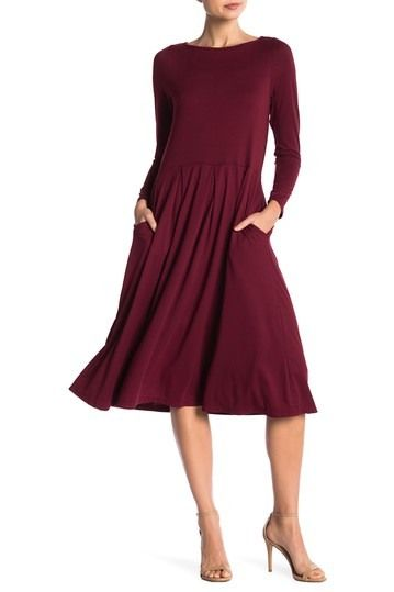 89ef565f43 Image of 24 7 Comfort Long Sleeve Fit and Flare Midi Dress (Plus Size  Available)