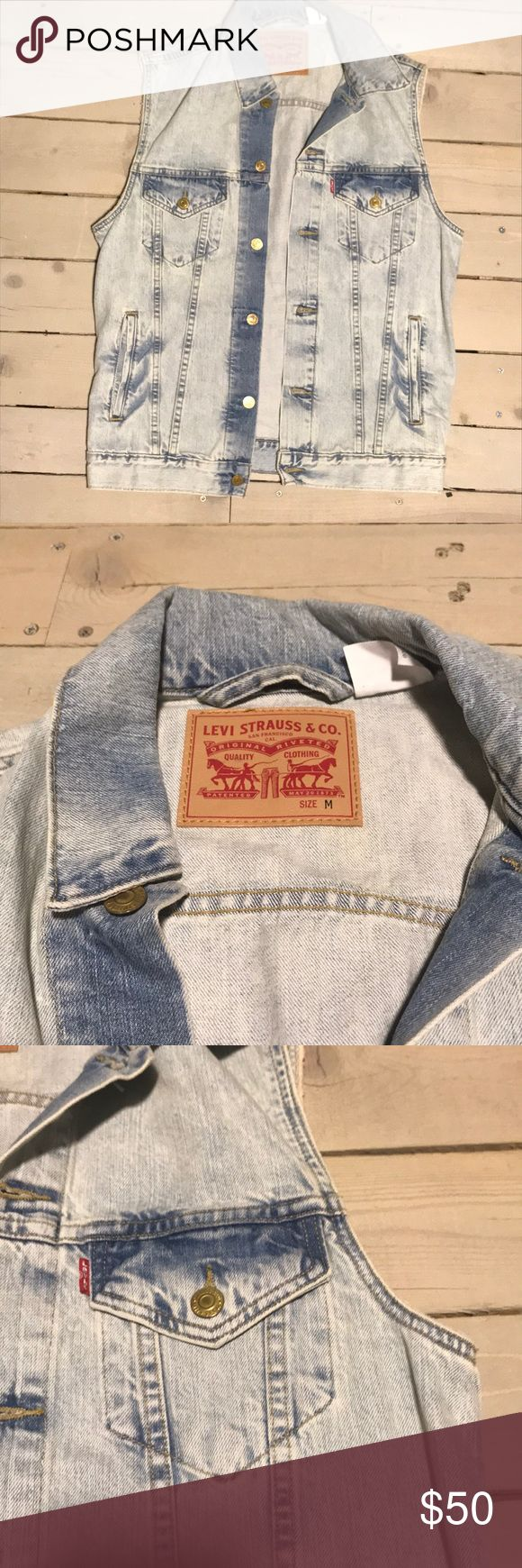 Rare Levi's Vest! Rare find for a Men's Levi Vest! Only wore it once and it was cute on me as an oversized vest! Lightwash denim and super cute! Slight discoloration on back near collar, bought it like that! Levi's Jackets & Coats Vests