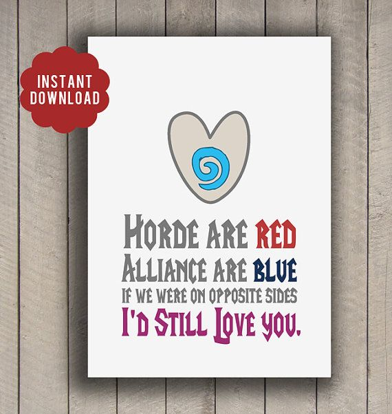 INSTANT DOWNLOAD Valentine World of Warcraft by modernhomeprints, $2.99
