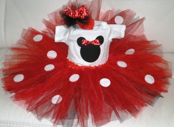 Mini Mouse Outfit, Birthday Tutu Set, Holloween Costume, Tutu and Onesie, Photo Prop