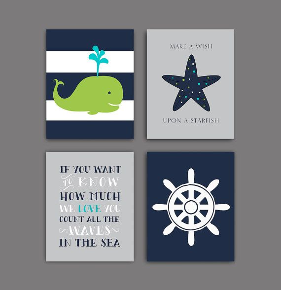 Whale & Starfish & captain wheel & Quote nursery art print. Nautical wall decor - Set of 4 JPEG files. 8x10 inches each Set of 4 INSTANT