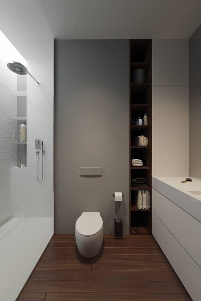 Combinación de colores cálida pero más luminosa para el baño que no tiene ventana.