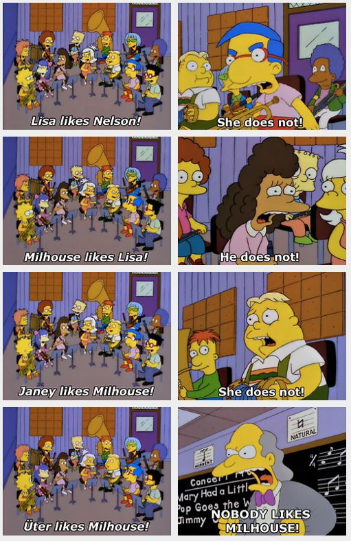 NOBODY LIKES MILHOUSE - LOL!!! #classic #Simpsons