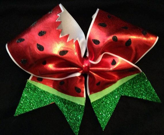 "Watermelon sparkly 3"" Cheer Bow:"