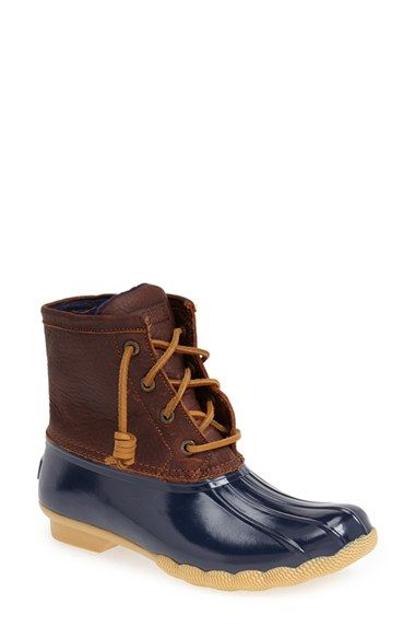 $100 - Sperry Top-Sider® 'Saltwater' Duck Boot (Women) | Navy/Brown, Size 8