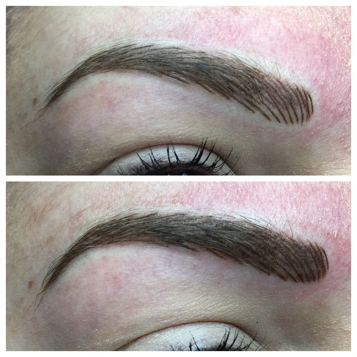 Here is a picture of the same brow but the photo above is just hairstroke and the other is a combination of hairstroke and shading. Some clients opt for the combination brow to create a more fuller look...  Visit www.sarahcatherinecosmetics.com?utm_content=buffer39bcc&utm_medium=social&utm_source=pinterest.com&utm_campaign=buffer for more info on the different options