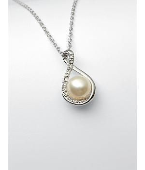 pearl + diamond necklace: Pearls are known to stimulate femininity; said to lift spirits and make her feel beautiful. Pearls symbolize honesty, wisdom, innocence and serenity. A single... More Details