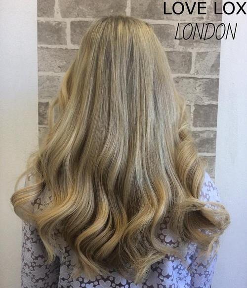 long dark blonde weave