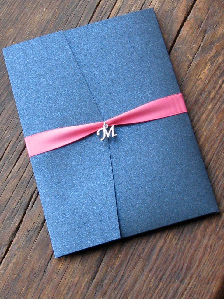 Elegant Navy and Pink Wedding Invitation. $9.00, via Etsy.