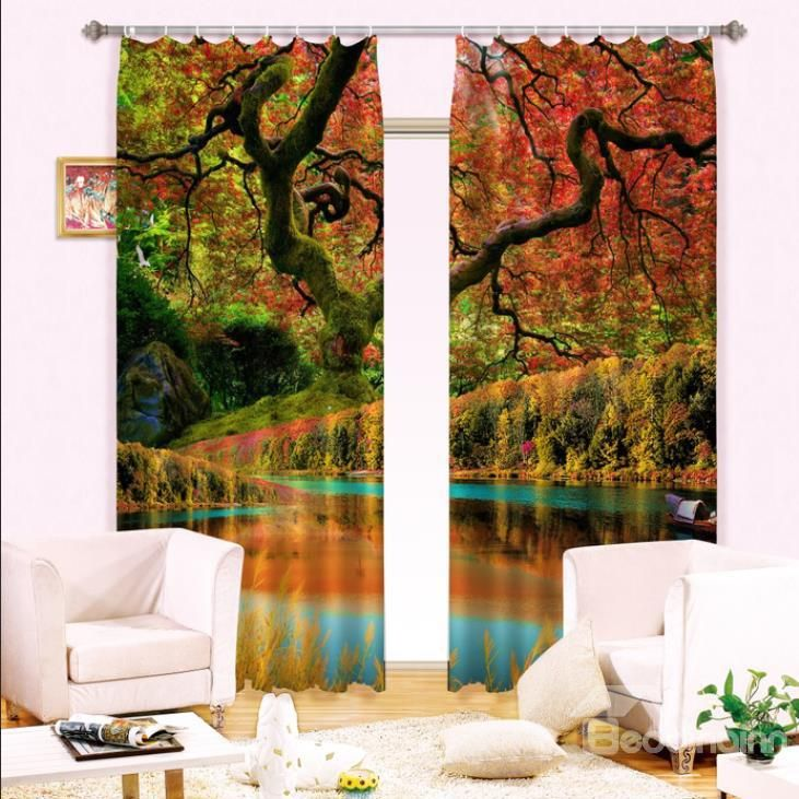 Wonderful Forest Reflection In Water Print Light Blocking 3D Curtain Curtains On SaleLuxury