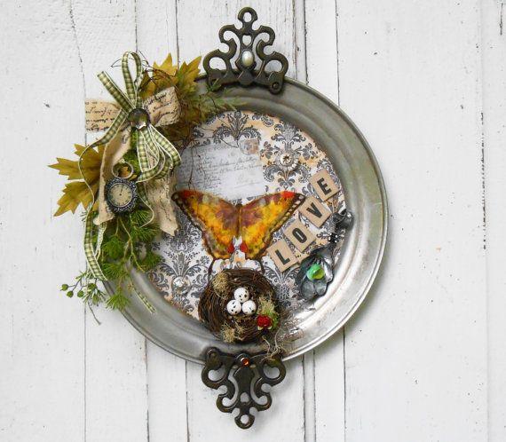 Decorative Tray Altered Art Upcycled Decor Bedroom Decor Nest Decor Vintage Decor