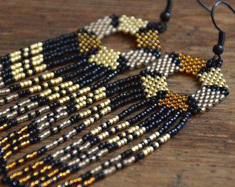Orecchini di perline, gioielli artigianali, stile etnico, orecchini con le frange, orecchini pendenti, Nativi Americani