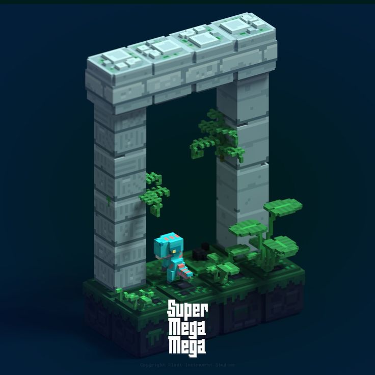 """Raptor at the gate. Working on some pillars  #qubicle #magicavoxel #voxel #indiegame #supermegamega #dinosaurs #raptor"""