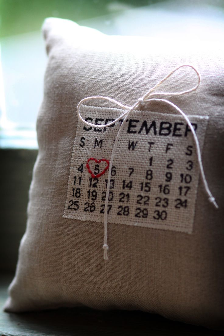 "INSPIRATION: ""special date"" pillow. Use fun fabrics with their interests, do birthday dates."