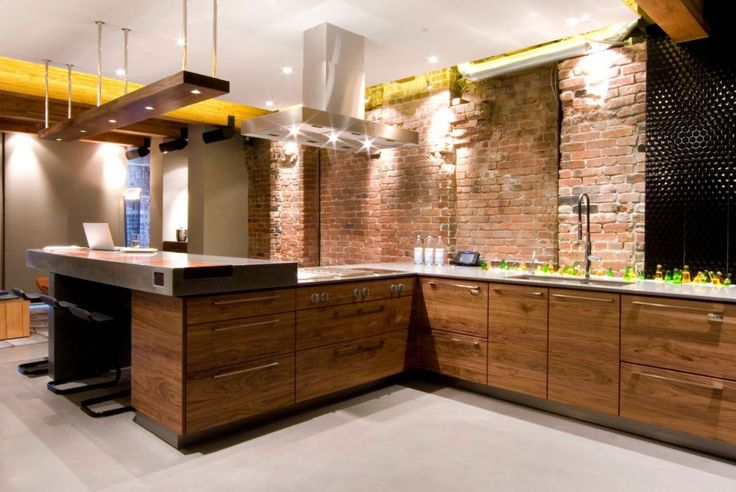 bachelor pad: Yaletown Loft Designed by Kelly Reynolds, Yaletown Loft Kitchen Deign with Exposed Brick Wall and Black Bar Stools by Kelly Reynolds