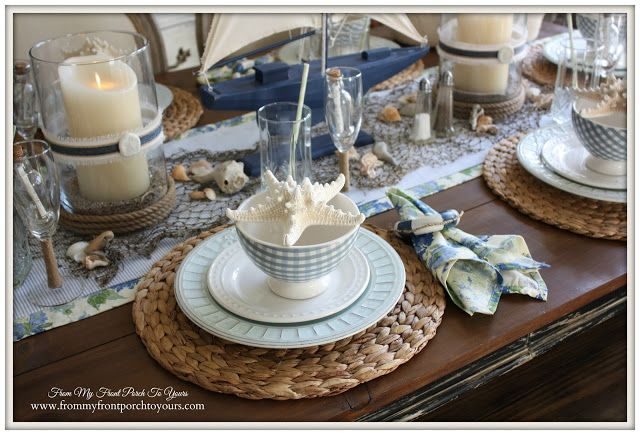 French Farmhouse Nautical Dining Room- Welcome Home Summer- Tour-From My Front Porch To Yours