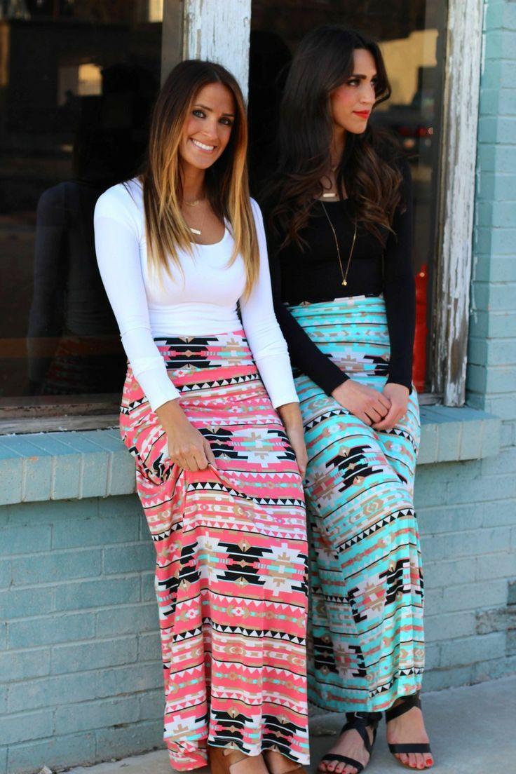 Coral Aztec Maxi Skirt