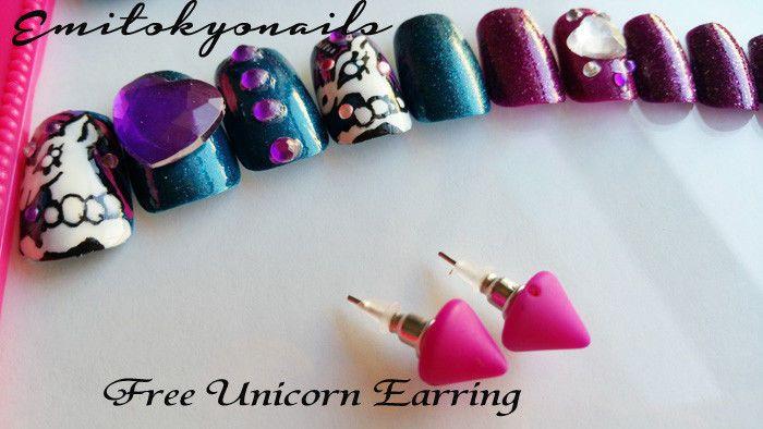 unicorn,24 nails,3d Nail,unicorn nails,Hand painted false nails,Press on Nails