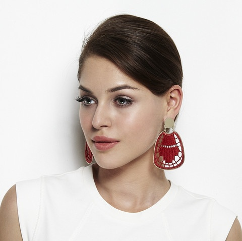 Richelieu Collection - Art Deco Earring 'Combining richelieu lace with metal and playing with the see-throughness of the material, this modern geometric design was inspired by traditional Hungarian lace table cloths.'