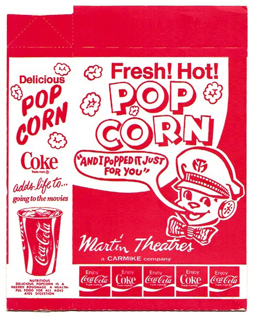 Vintage popcorn boxes we had at movies, drive-in theaters and circuses.