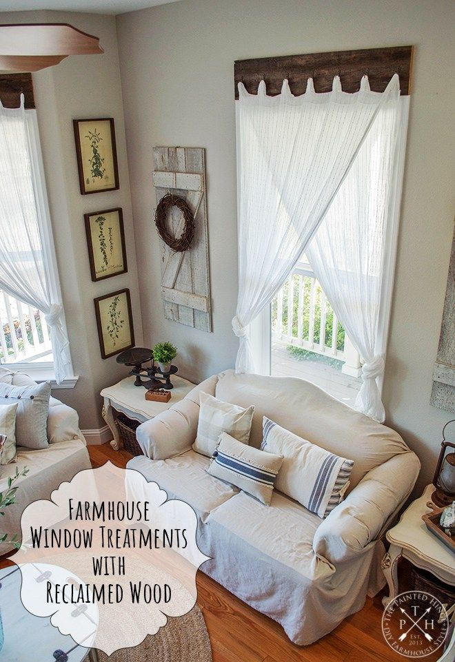 Farmhouse Window Treatments With Reclaimed Wood Window Treatments Living Room Farm House Living Room Curtains Living Room